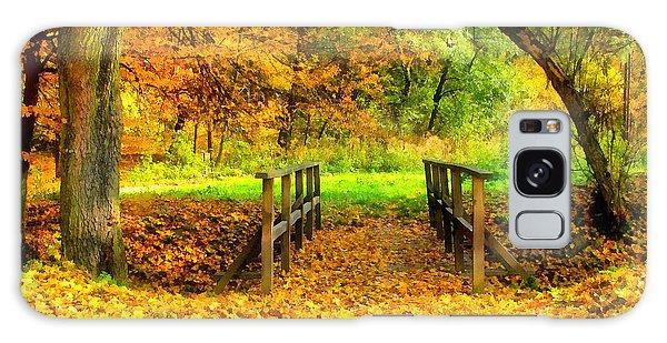 Wooden Bridge In The Autumn Forest  Galaxy Case