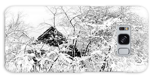 Wooden House After Heavy Snowfall. Russia Galaxy Case