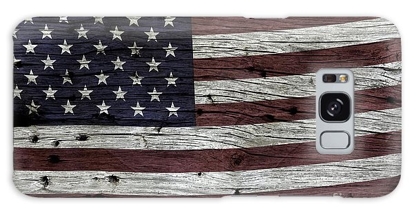 Wooden Textured Usa Flag3 Galaxy Case by John Stephens