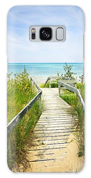 Wooden Walkway Over Dunes At Beach Galaxy Case