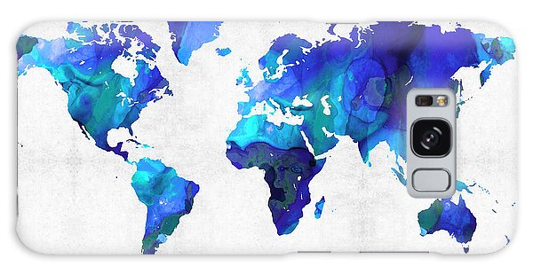 America Map Galaxy Case - World Map 17 - Blue Art By Sharon Cummings by Sharon Cummings