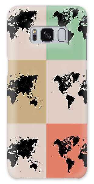 Comical Galaxy Case - World Map Grid Poster 2 by Naxart Studio