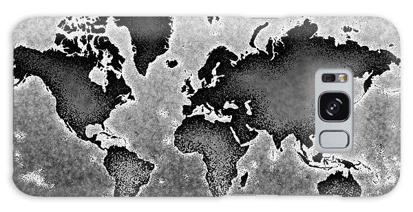 World Map Novo In Black And White Galaxy Case