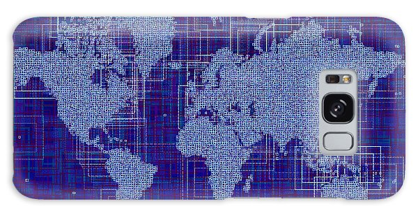 World Map Rettangoli In Blue And White Galaxy Case by Eleven Corners