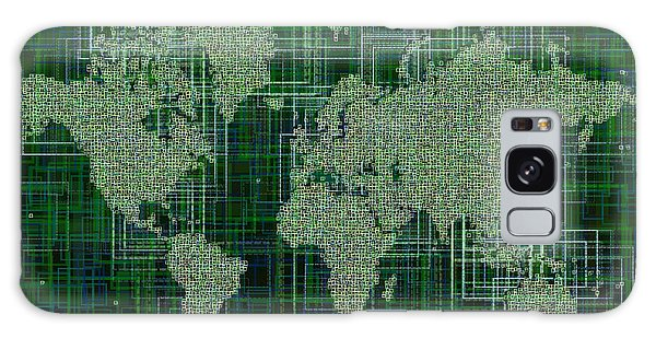 World Map Rettangoli In Green And White Galaxy Case by Eleven Corners