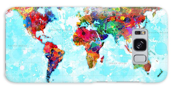 World Map Spattered Paint Galaxy Case