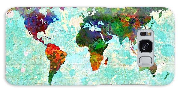 World Map Splatter Design Galaxy Case
