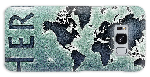World Map You Are Here Novo In Black And Blue Galaxy Case by Eleven Corners