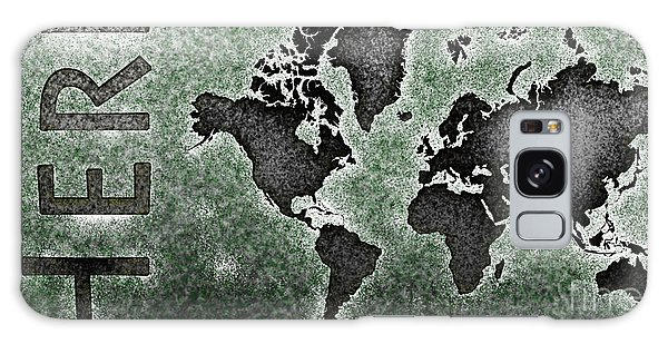 World Map You Are Here Novo In Black And Green Galaxy Case by Eleven Corners