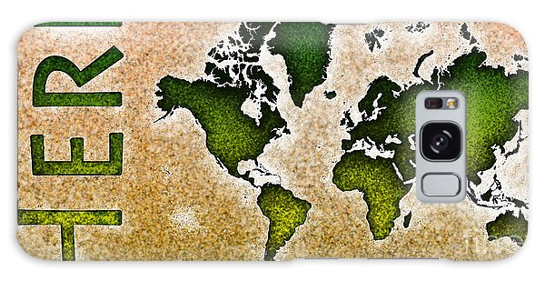 World Map You Are Here Novo In Green And Orange Galaxy Case by Eleven Corners
