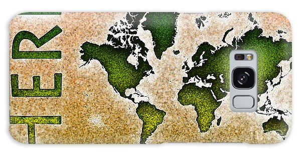World Map You Are Here Novo In Green And Orange Galaxy Case