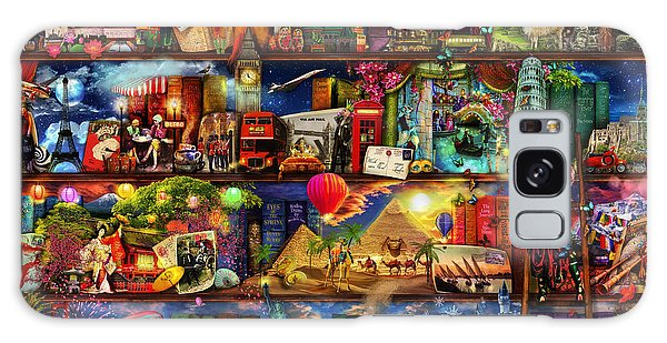 World Travel Book Shelf Galaxy Case by Aimee Stewart