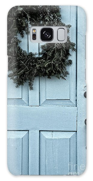 Wreath On Old Blue Door Galaxy Case by Birgit Tyrrell