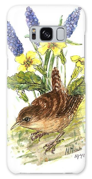 Wren In Primroses  Galaxy Case by Nell Hill