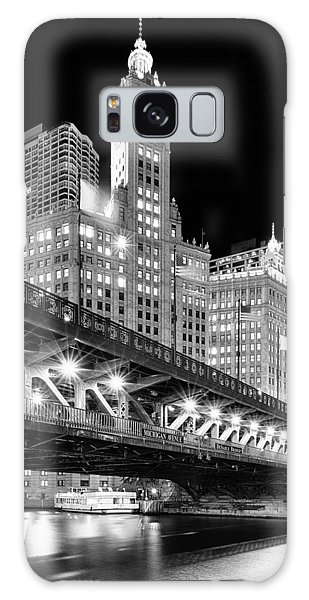 Wrigley Building At Night In Black And White Galaxy Case