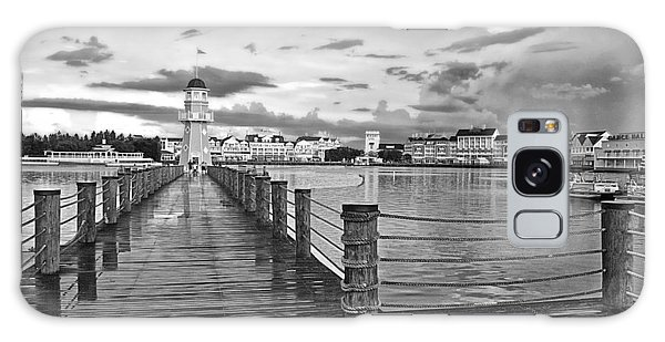 Yacht And Beach Lighthouse In Black And White Walt Disney World Galaxy Case by Thomas Woolworth