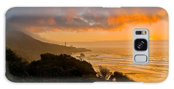 Yaquina Head Lighthouse Sunset. Galaxy Case by Ulrich Burkhalter