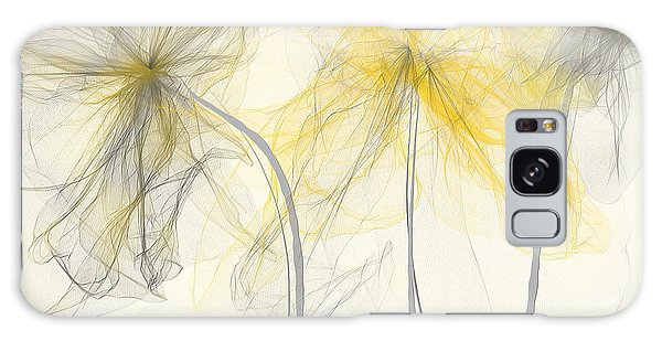 Yellow And Gray Flowers Impressionist Galaxy Case