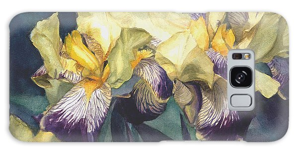 Watercolor Of A Tall Bearded Iris Painted In Yellow With Purple Veins Galaxy Case