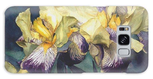 Yellow And Purple Streaked Irises Galaxy Case by Greta Corens