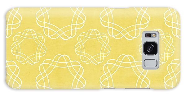 Yellow Galaxy Case - Yellow And White Geometric Floral  by Linda Woods