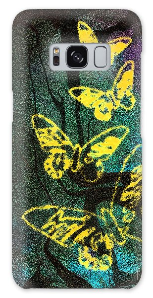Yellow Butterflies Galaxy Case by Christine Perry