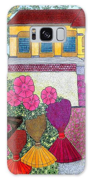 Yellow Casa Pink Flors Galaxy Case