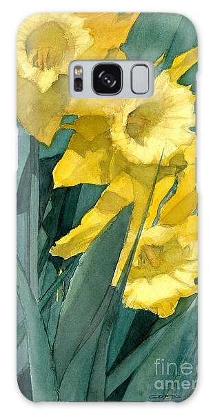 Watercolor Painting Of Blooming Yellow Daffodils Galaxy Case