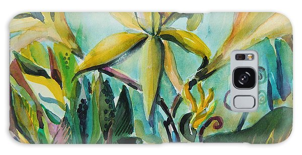 Yellow Day Lilies Galaxy Case by Mindy Newman