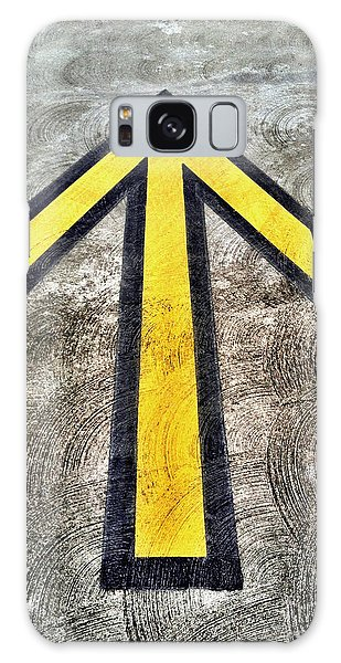 Yellow Directional Arrow On Pavement Galaxy Case
