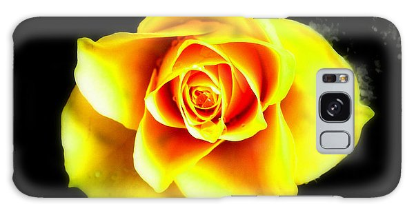 Yellow Flower On A Dark Background Galaxy Case