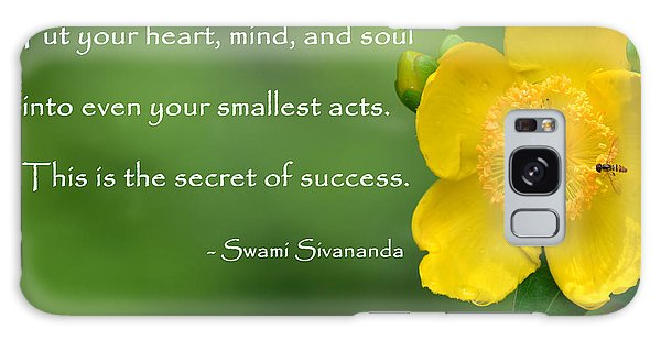 Yellow Flower With Success Quote Galaxy Case