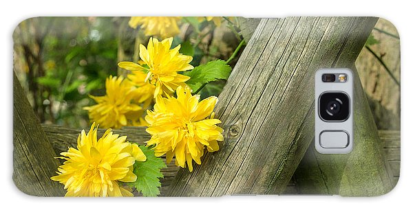 Yellow Flowers And Fence Galaxy Case