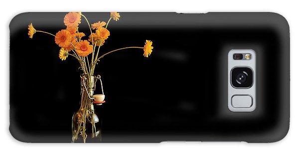 Orange Flowers On Black Background Galaxy Case by Don Gradner