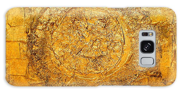 Yellow Gold Mixed Media Triptych Part 1 Galaxy Case