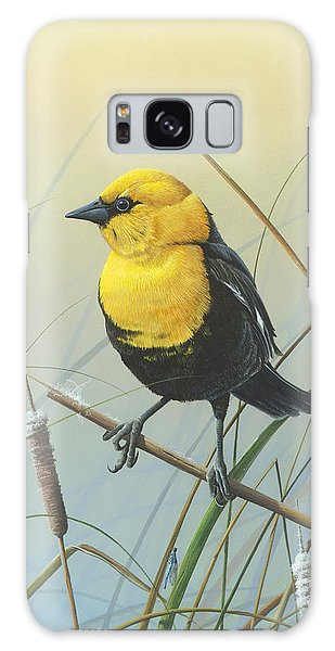 Yellow-headed Black Bird Galaxy Case