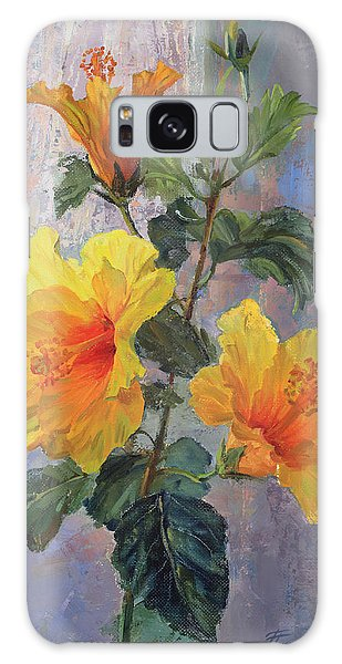 Yellow Hibiscus Flower Galaxy Case