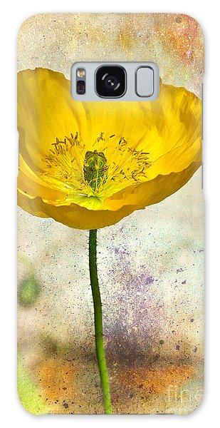 Yellow Icelandic Poppy And Texture Galaxy Case