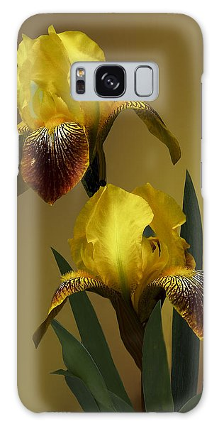 Yellow Iris Galaxy Case by Judy  Johnson