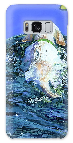 Yellow Lab  Blue Wake Galaxy Case by Molly Poole