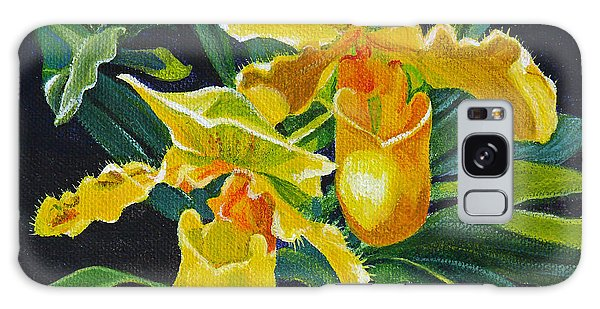 Yellow Lady Slippers Galaxy Case by Susan Duda