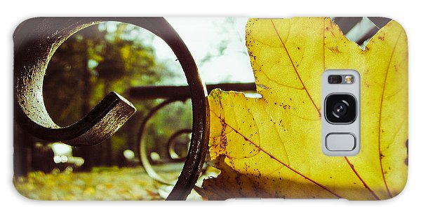 Yellow Leaf On A Bench In A Park Galaxy Case by Vlad Baciu