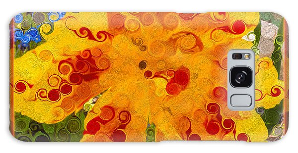 Yellow Lily With Streaks Of Red Abstract Painting Flower Art Galaxy Case