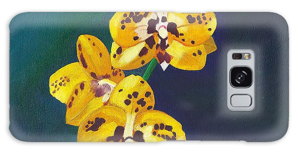 Yellow Orchids Galaxy Case by Laura Forde