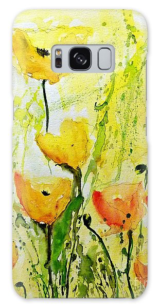 Yellow Poppys - Abstract Floral Painting Galaxy Case by Ismeta Gruenwald
