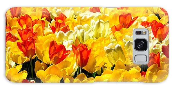 Yellow Red And White Tulips Galaxy Case by Menachem Ganon