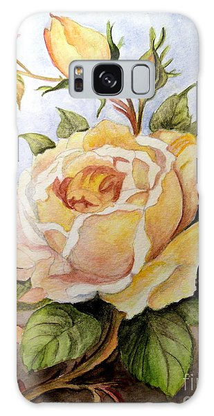 Yellow Roses In The Garden Galaxy Case by Carol Grimes