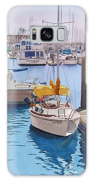 Boat Galaxy S8 Case - Yellow Sailboat Oceanside by Mary Helmreich