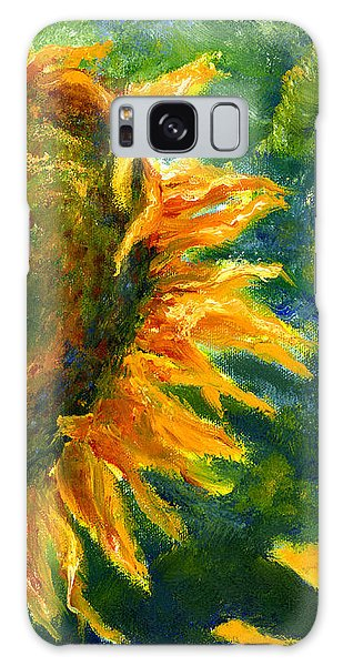 Yellow Sunflower Art In Blue And Green Galaxy Case