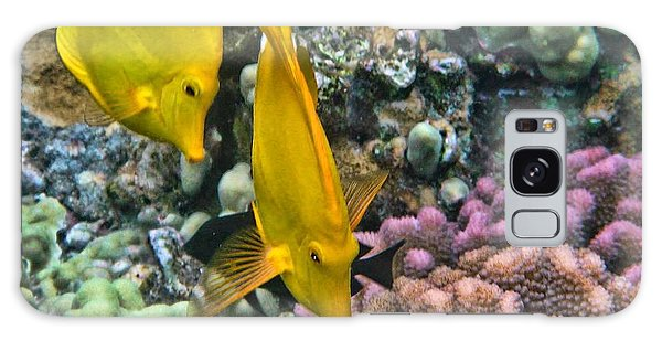 Yellow Tang Pair Galaxy Case by Peggy Hughes